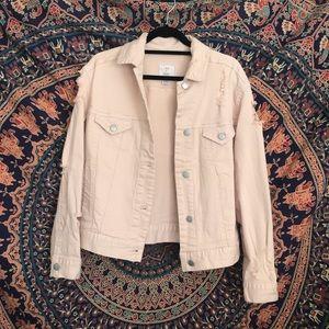 Distressed Pink Jean Jacket